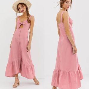 ASOS | Linen Blend Blush Pink Ruffle Maxi Dress 4